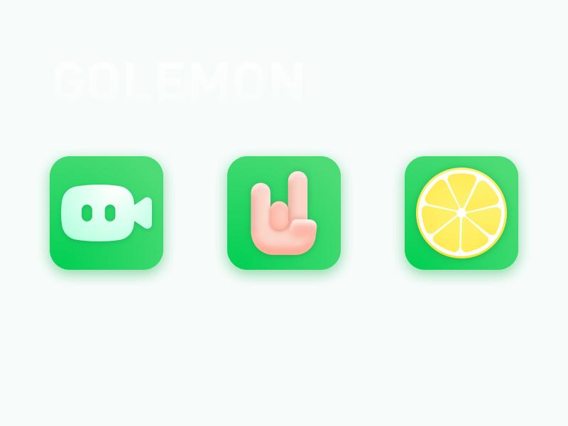 GOLEMON design sketch ui logo rock hand green icon app lemon viadeo