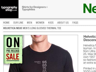Helvetica Neue Descending a Long Sleeved Thermal tee.  t-shirt helvetica web design e-commerce