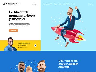 GoDaddy Academy 👨💻👩💻 godaddy academy webdesigner branding poland 3d illustration landingpage onepage ui ux design webdesign website