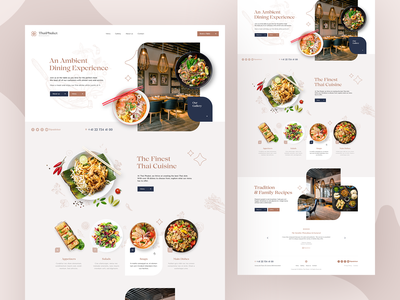 ThaiPhuket 🍜 wordpress agency branding illustration design ux ui food thai restaurant landingpage onepage webdesigner webdesign website web