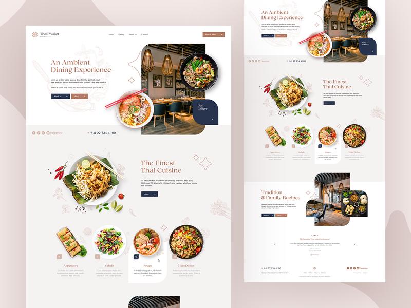 ThaiPhuket 🍜 wordpress agency branding illustration design ux ui food thai restaurant landingpage onepage webdesigner webdesign website web