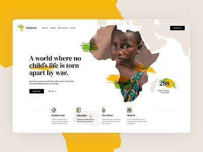 NGO Kalypsia 🧡💚 illustration poland ux ui design world africa ngo charity landingpage onepage webdesign website