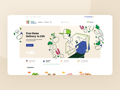 FreshCorner 🍎🥩🍋🌽🥖🧀 landingpage agency onepage webdesign design ux ui website covid ecommerce grocery foodcorner food