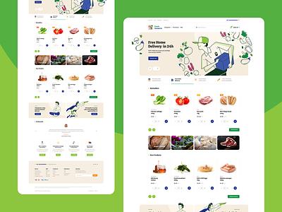 FreshCorner 🍎🥩🍋🌽🥖🧀 branding poland illustration onepage webdesign ux ui website landingpage ecommerce grocery food