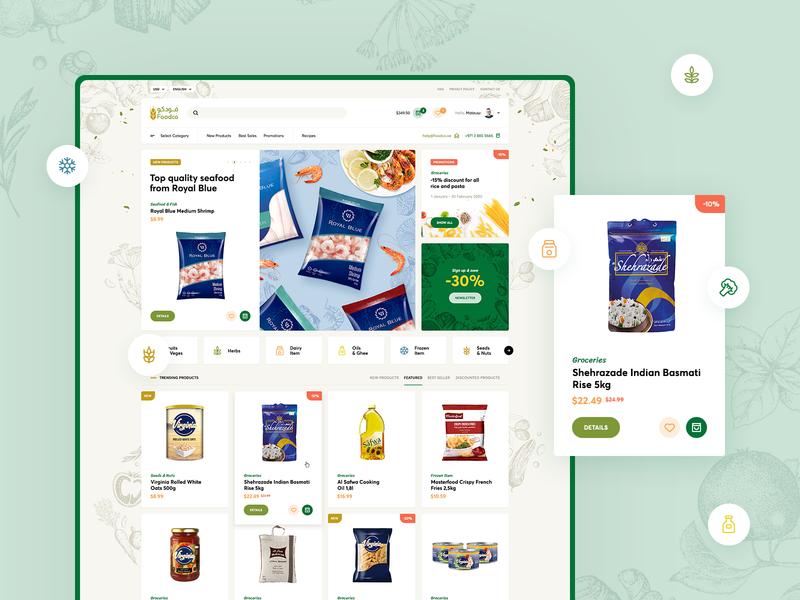 FoodCo 🍎🥩🍋🌽🥖🧀 vector onepage landingpage onlinegrocery fresh vegetables illustration ui ux webdesigner website webdesign onlineshop shop ecommerce grocery onlinefood food