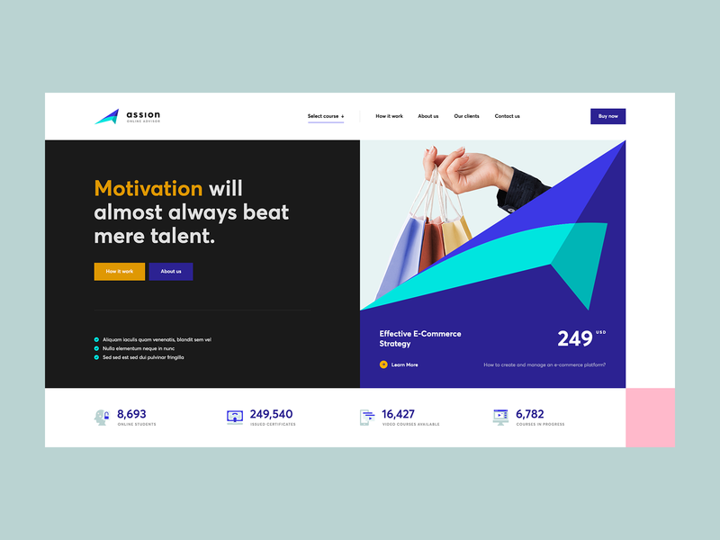 ↗️ ASSION icons vector webdesign onepage landingpage ux ui abstract branding course webdesigner website web