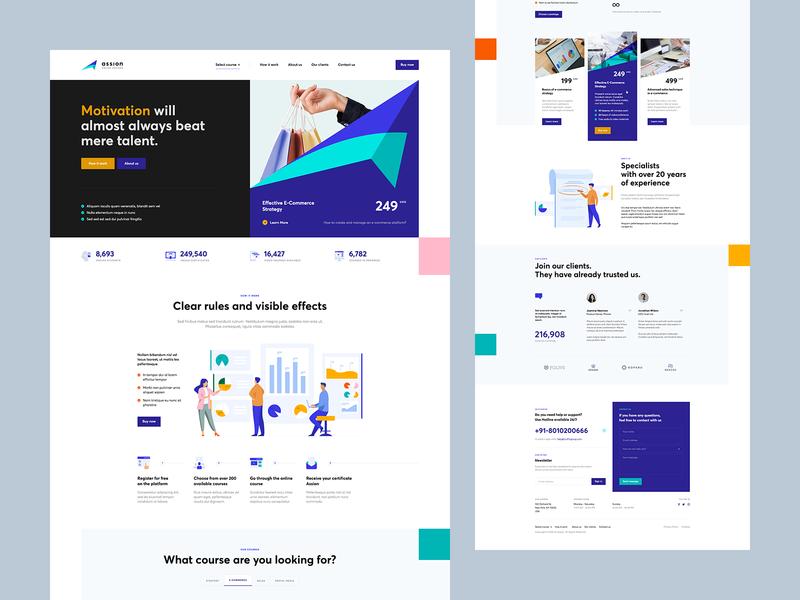 ↗️ ASSION wordpress course illustration landingpage onepage webdesign web design ux ui website