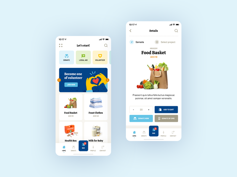 Emirates Red Crescent Mobile App ❤️ vector illustration design ux ui food help android ios app mobile mobileapp ecommerce grocery charity donate
