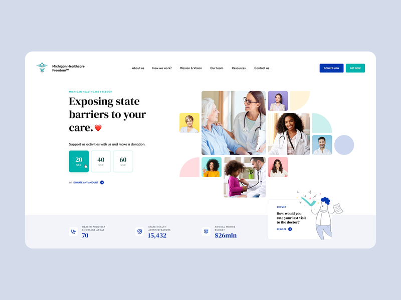 Michigan Healthcare Freedom 👨‍⚕️ charity donate usa ui ux mosaic colors shapes ladingpage onepage webdesigner webdesign website web medical patient doctor healthcare health medicine