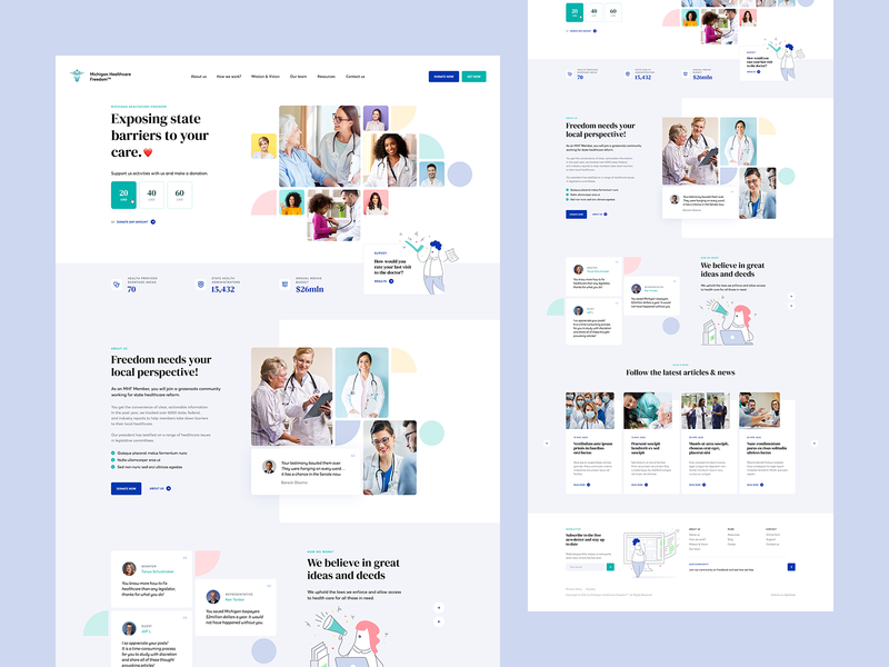 Michigan Healthcare Freedom 👨‍⚕️ illustration agency usa poland redesign healthcare health medical patient doctor medicine wordpress ui ux ladingpage onepage webdesigner webdesign website web