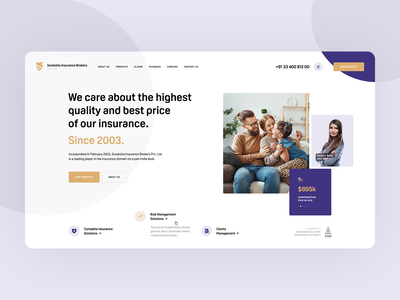 Suraksha Insurance Brokers 🛡 healthcare web minimalistic wordpress agency poland usa intro hero onepage landingpage ux ui webdesigner design webdesign family health broker insurance
