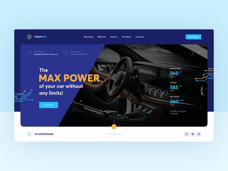 insyncar poland wordpress agency mercedes onepage landingpage ui ux rally rallycar chiptuning tuning chip car webdesign webdesigner website web