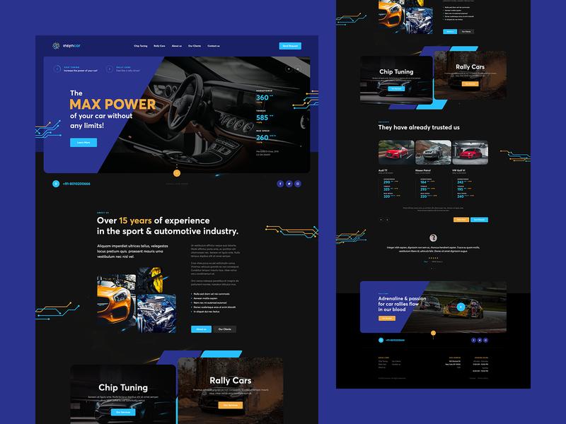 insyncar visiontrust illustration design poland ux ui rally chiptuning tuning car landingpage onepage website webdesigner webdesign web