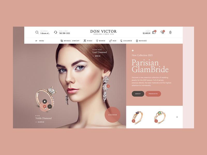 Don Victor Jewelry 💍 webdesigner website web design minimalist wordpress woocommerce jewellery shop jewellery silver gold intro hero ladingpage onepage jewelry shop ecommerce ux ui