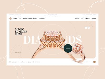 Sweava 💎 ux ui woocoomerce poland visiontrust agency intro hero animation diamond jewelry shoponline ecommerce landingpage onepage webdesigner webdesign website web