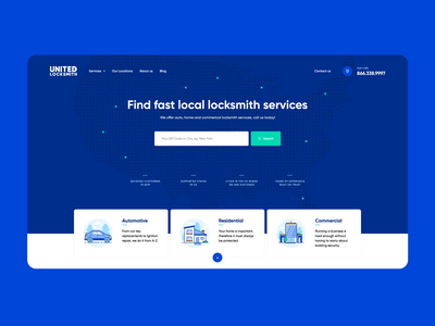 United Locksmith 🔑 visiontrust vector design illustration ux ui video animation intro key locksmith landingpage onepage webdesigner webdesign website web