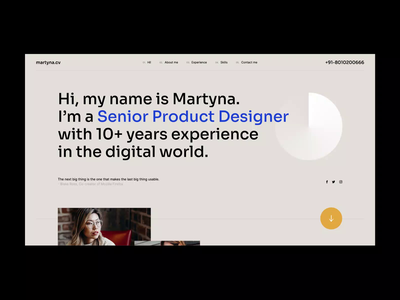martyna.cv katowice website design poland visiontrust agency wordpress theme design minimalistic typography animation cv web ui ux onepage landingpage website webdesigner webdesign