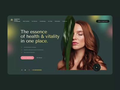 HerbalScape Institute Aromatherapy 💆‍♀️ design wordpress landingpage healthy health wellnes spa aromatheraphy animation intro onepage ui ux web webdesigner webdesign website
