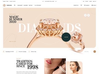 Sweava 💎 design poland wordpress woocomerce animation ux ui jewellery onlineshop shop ecommerce landingpage onepage webdesigner webdesign website web