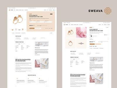 Sweava 💎 / Product Page landingpage onepage productdesign design beauty diamond minimalistic jewellery jewelry productpage product ux ui onlineshop ecommerce webdesigner webdesign website web