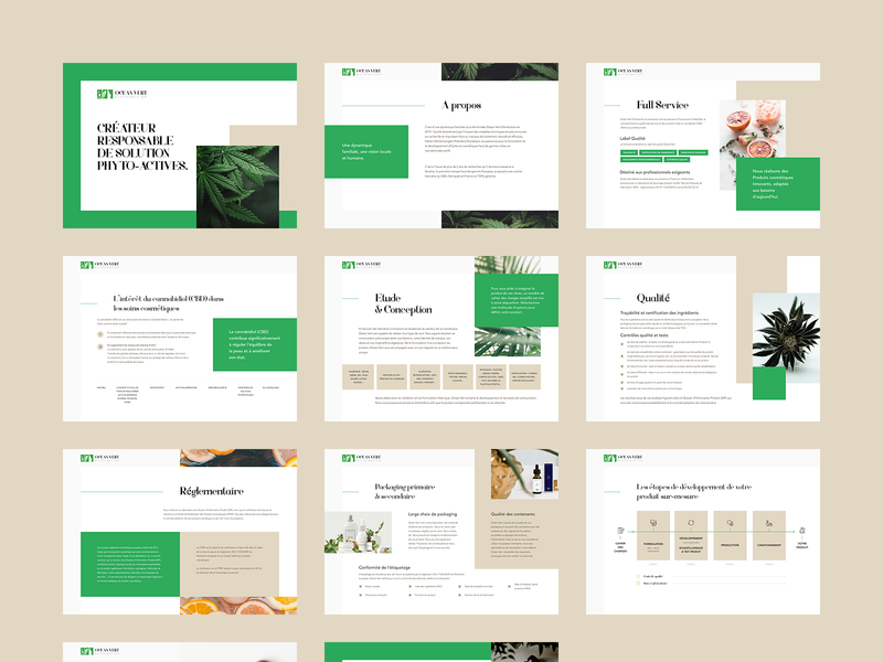 Ocean Vert Pitch Deck 🌿 cbd france poland designer productdesign logo typography vector agency illustration ux ui marijuana illustrations branding print adobexd presenation pitchdeck design