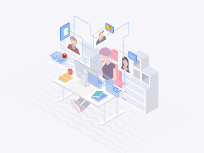 Vision Trust - Outsourcing department outsourcing katowice poland visiontrust services team design characters isometric illustration