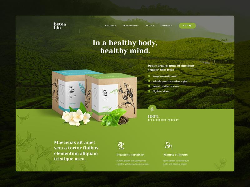 beteabio 🌿 wordpress theme illustration web ux ui poland katowice visiontrust agency website packing design packing landingpage eco bio tea