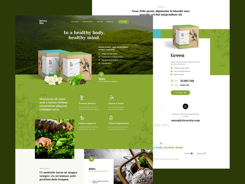 beteabio 🌿 tea bio eco landingpage packing packing design website agency visiontrust katowice poland ui ux web illustration theme wordpress
