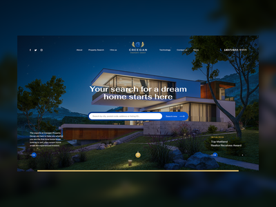 Creegan Property Group ux ui design prestige luxury godaddy theme wordpress herosection hero landingpage onepage website poland usa california broker home realestate