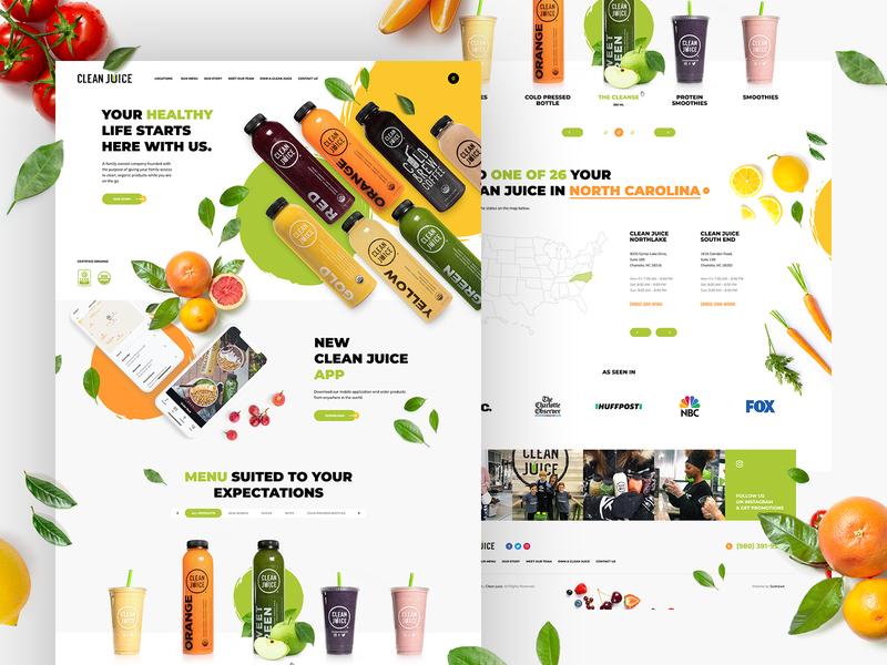Clean Juice 🌿 illustration branding wordpress theme agency usa poland mobileapp app design u ui webdesign website onepage landingpage healthy nature juice