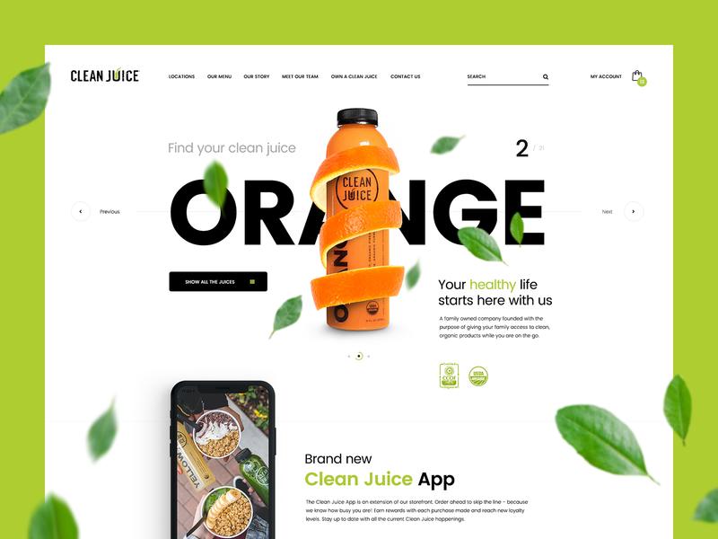 Clean Juice 🌿 v2 juice nature healthy landingpage onepage website webdesign ui u design app mobileapp poland usa agency theme wordpress branding illustration