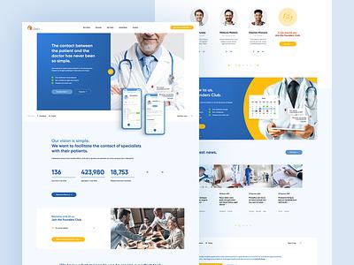 Dash 👩⚕️📆 ux poland usa ui onepage landingpage healthy mobileapp app ios mockup doctor hospital calendar profile appointment agency iphonex iphone book