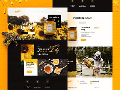 Honey 🐝 eco healthy honey onepage website webdesign landingpage wordpress design ui ux webanimation poland agency visiontrust katowice app branding illustration