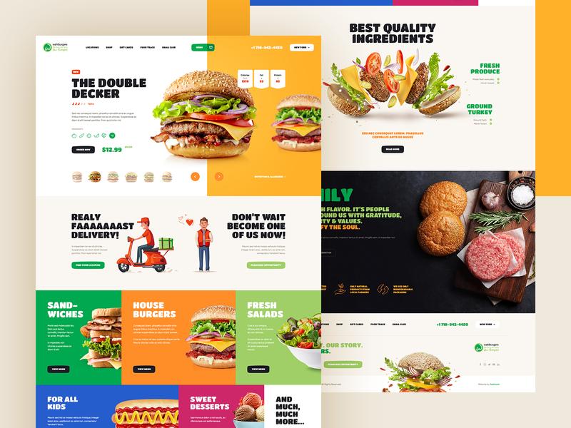 Wahlburgers 🍔 welcome hero mockup website webdesign onepage landingpage wordpress theme app ux ui design web website animation burger hamburger restaurant poland agency