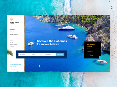 Abaco Tours 🌴 island traveling travel welcome hero mockup website webdesign onepage landingpage wordpress theme app ux ui design web burger poland agency