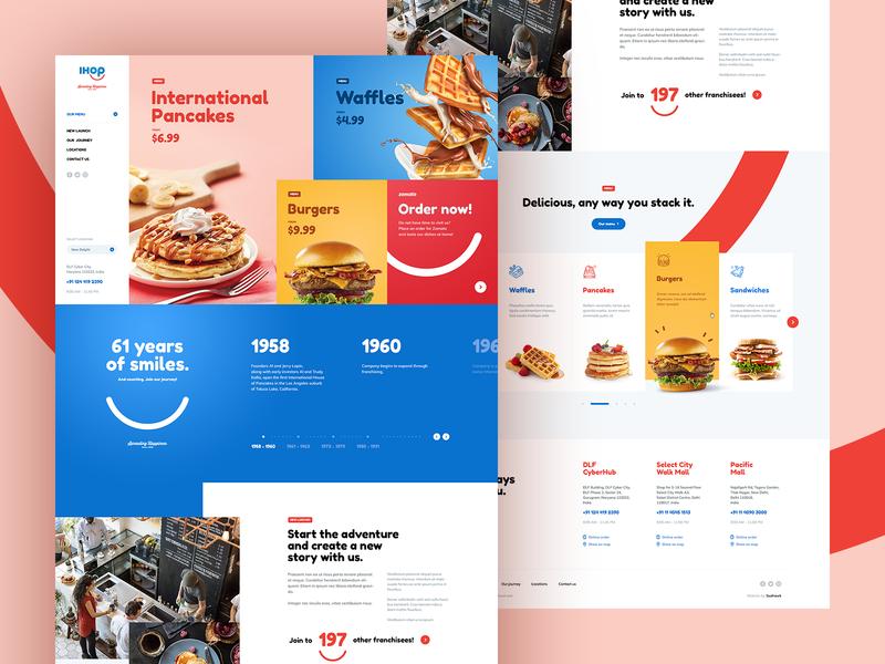 IHOP ❤️ agency poland restaurant hamburger burger website animation web design ui ux app theme wordpress landingpage onepage webdesign website mockup hero pancakes