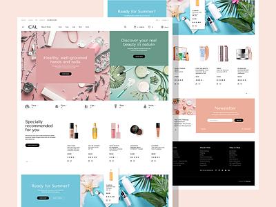 CAL Cosmetics welcome hero mockup website webdesign onepage landingpage wordpress theme app ux ui design web cosmetics beauty woman ecommerce spa minimalist