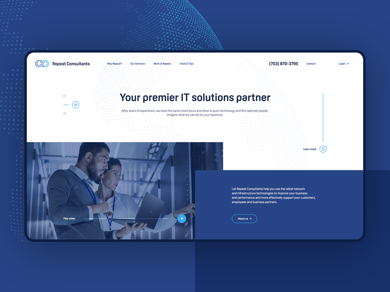Repeat Consultants ♾ computer future webdesigner solutions it minimalist web design ui ux app theme wordpress landingpage onepage webdesign website mockup hero welcome