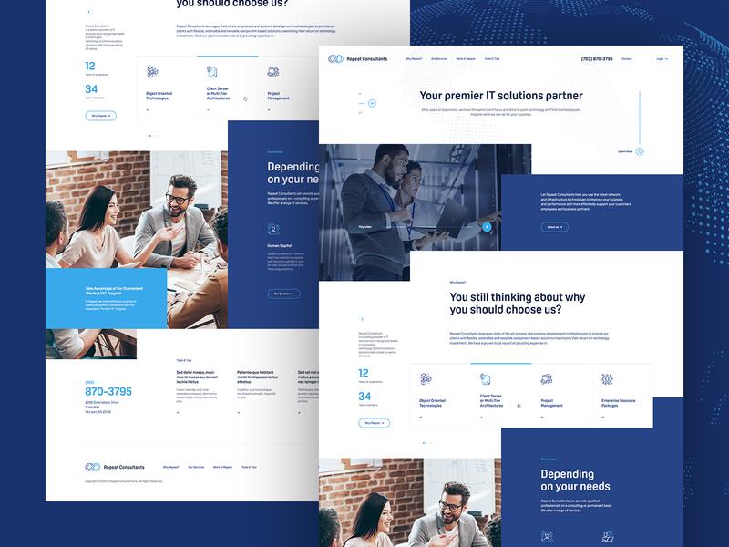 Repeat Consultants ♾ welcome hero mockup website webdesign onepage landingpage wordpress theme app ux ui design web minimalist it solutions webdesigner future computer