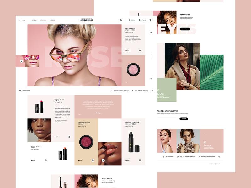 Miracle Herbs welcome hero mockup website webdesign onepage landingpage wordpress theme app ux ui design web cosmetics beauty woman ecommerce spa minimalist