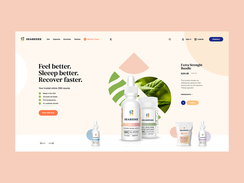 Seabedee 🌿 ecommerce cannabis cbd webdesigner minimalist web design ui ux app theme wordpress landingpage onepage webdesign website mockup hero welcome
