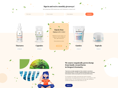 Seabedee 🌿 welcome hero mockup website webdesign onepage landingpage wordpress theme app ux ui design web minimalist webdesigner cbd cannabis ecommerce