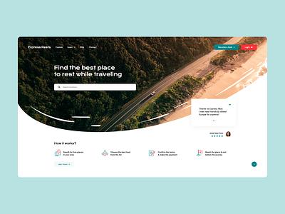 Express Rests 🚘💤 car travel booking airbnb webdesigner minimalist web design ui ux app theme wordpress landingpage onepage webdesign website mockup hero welcome