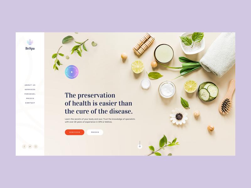 SPA & Wellness Institute 💆♀️ health wellness spa minimalist web app visiontrust agency poland webanimation ux ui design landingpage webdesign website onepage webdesigner mobile illustration