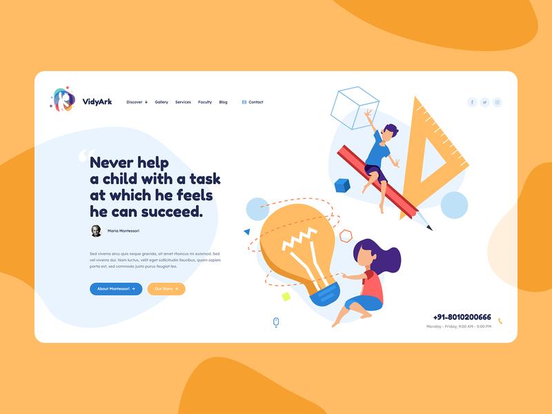 VidyArk Montessori School 📖 redesign montessori kids school webdesigner minimalist web design ui ux app theme wordpress landingpage onepage webdesign website mockup hero welcome