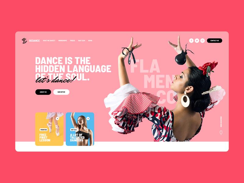 Let's dance! 💃🕺 school dancer dance illustration mobile webdesigner onepage website webdesign landingpage design ui ux webanimation poland agency visiontrust app web minimalist
