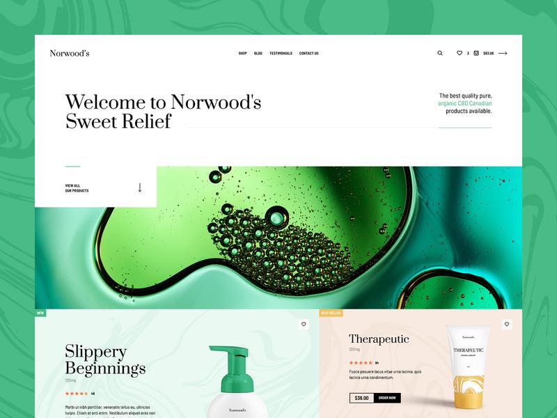 Norwood's 🌿 shop homepage mockup green minimalistic ux ui onepage landingpage poland usa agency wordpress ecoomerce theme webdesigner webdesign cosmetics cbdoil cbd