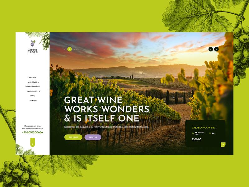 Around the Wine 🍷🍇 grape sketch illustration wordpress theme poland ux ui webdesign webdesigner web website landingpage onepage trip airbnb booking travel wineyard wine