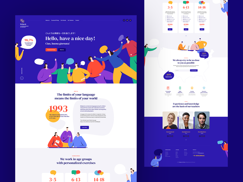 BeSpeak 💭 onepage landingpage school language speak chat web website webdesign webdesigner design ux ui intro flat illustration minialistic logo app