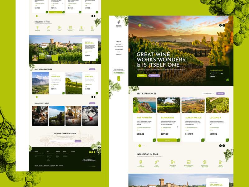 Around the Wine 🍷🍇 theme wordpress sketch illustration onepage landingpage ux ui webdesigner webdesign website web traveller trip airbnb booking travel natura wineyard wine